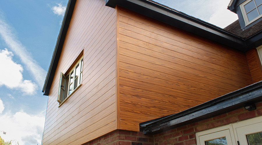 VulcaLap® T&G150 - Chestnut, aluminium wood finish cladding