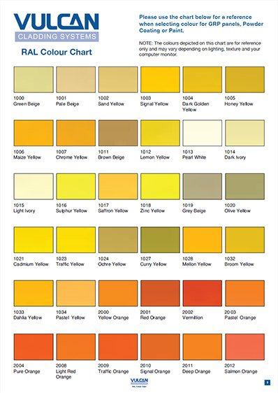 RAL colour chart rainscreen cladding