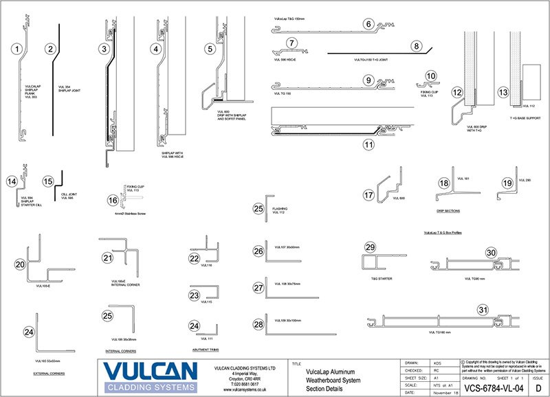 aluminium rainscreen cladding section profiles