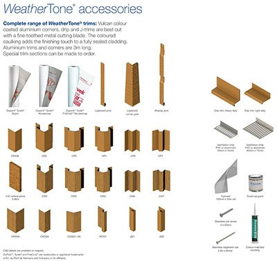 WeatherTone composite timber cladding trims and accessories